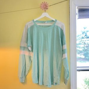 VS Pink Campus Shirt Light Turquoise and White